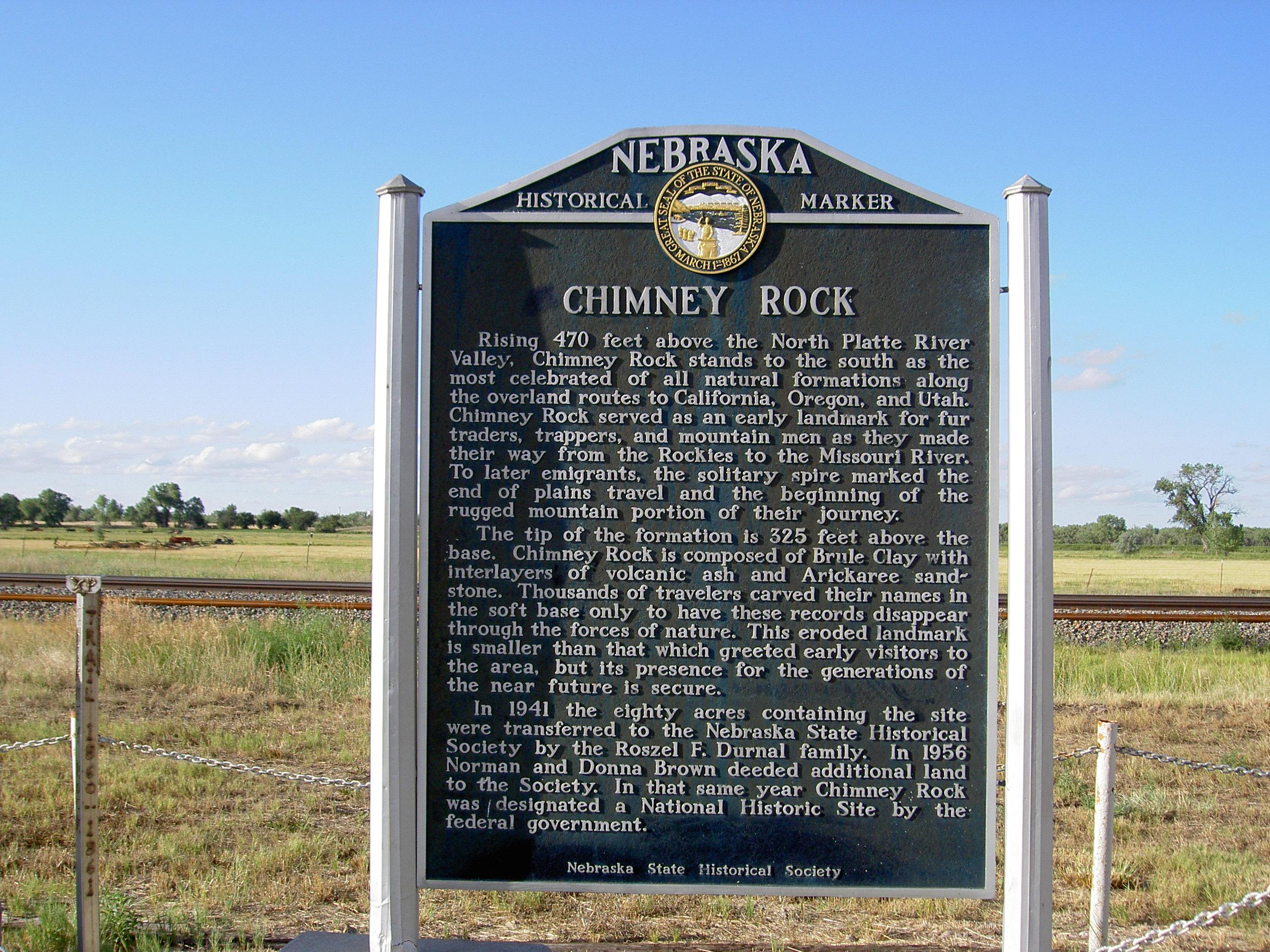 Chimney Rock (Nebraska) sign