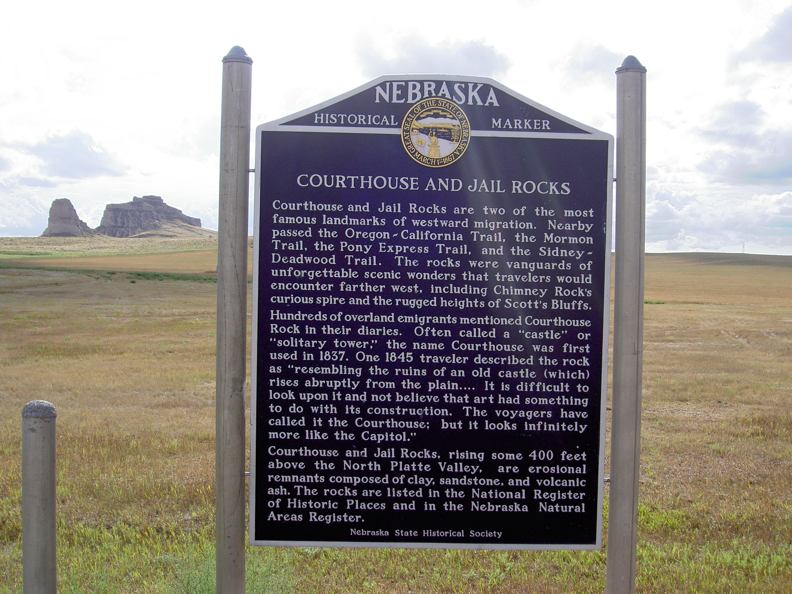 Courthouse Rock & Jail Rock (Nebraska) sign